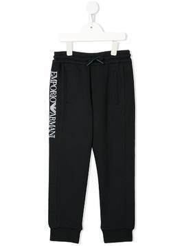 Emporio Armani Kids embroidered logo track pants - Blue