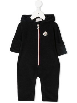 Moncler Kids hooded logo romper - Blue