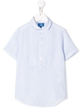 Fay Kids striped short-sleeved shirt - Blue