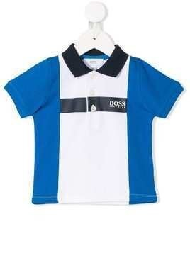 Boss Kids logo print polo shirt - Blue