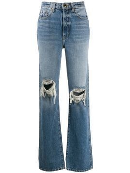 Khaite ripped high-rise straight jeans - Blue