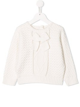 Lili Gaufrette bow detail jumper - White