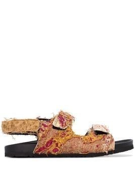 By Walid brown felix 18th century fabric sandals