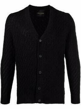 Roberto Collina V-neck knitted cardigan - Black
