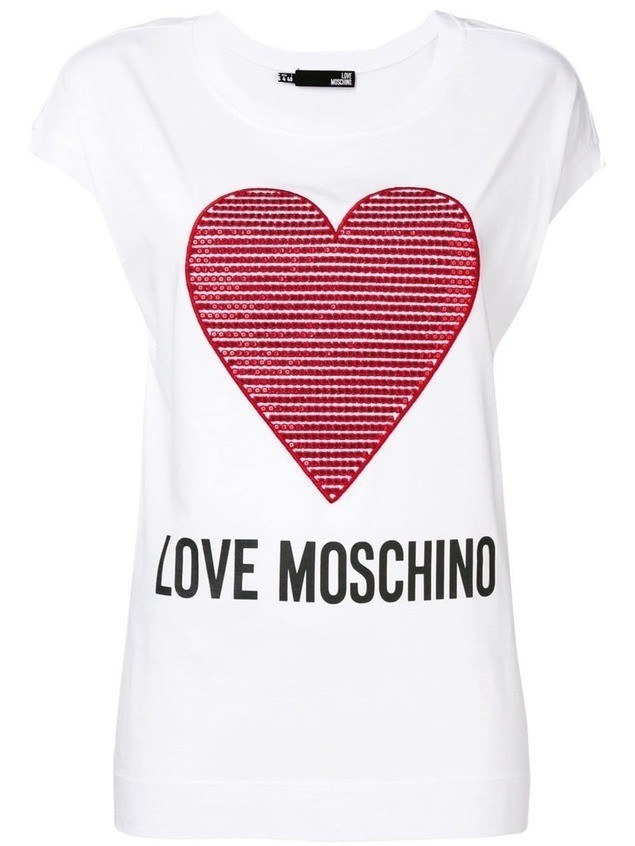 Love Moschino embroidered heart T-shirt - White