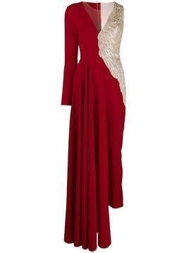 Loulou asymmetric beaded jumpsuit - Red