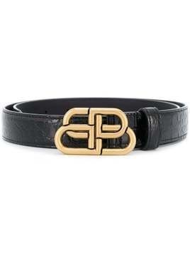 Balenciaga BB buckle belt - Black