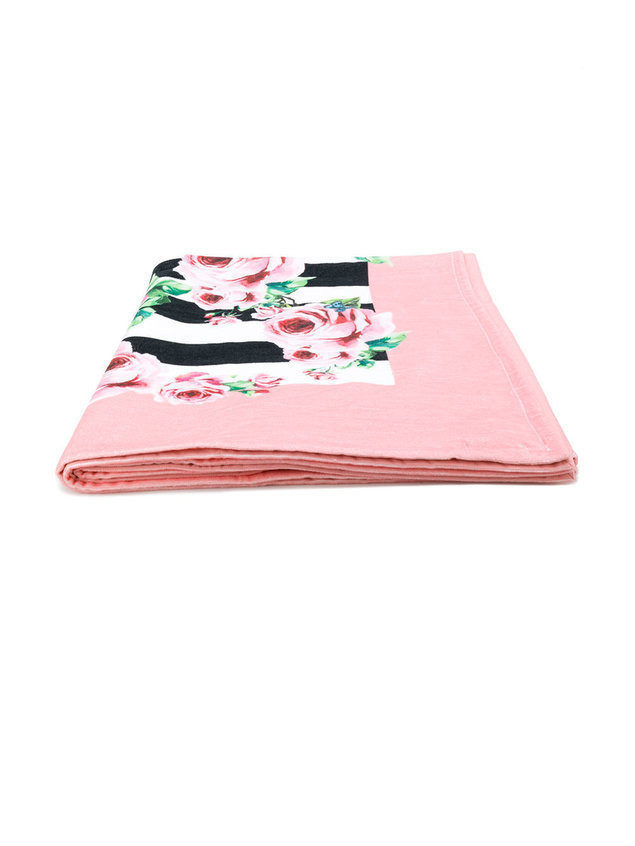 Dolce & Gabbana floral and stripe print towel - Pink