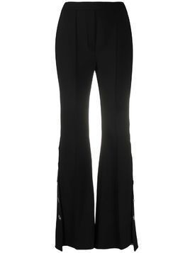 Ellery pleat detail asymmetric hem flared trousers - Black