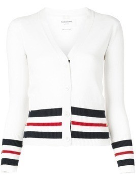 Thom Browne striped trim cardigan - White