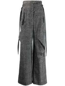 Litkovskaya check print slashed trousers - Grey