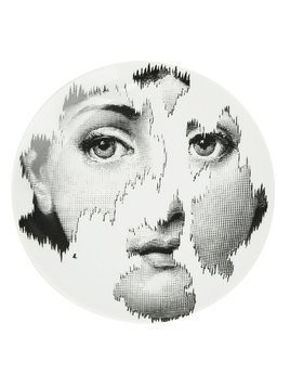 Fornasetti faded face print plate - Black