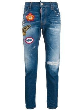 Dsquared2 patch embellished distressed skinny jeans - Blue