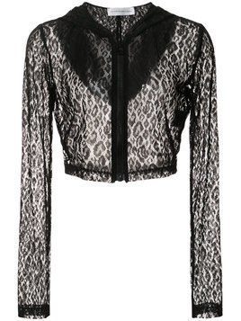 Faith Connexion lace cropped hoodie - Black