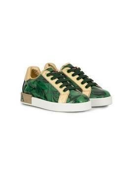 Dolce & Gabbana Kids leaf print sneakers - Green