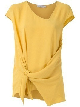 Mara Mac tie detail draped blouse - Yellow