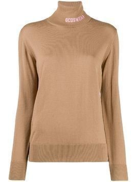 Gcds logo knit roll neck sweater - NEUTRALS