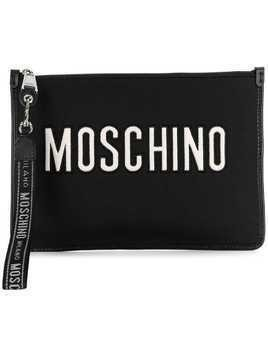 Moschino logo embroidered clutch bag - Black