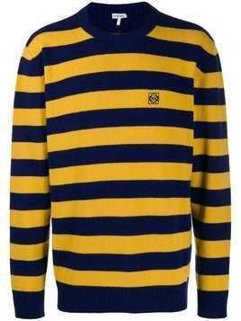 Loewe striped embroidered logo knitted sweater - Yellow