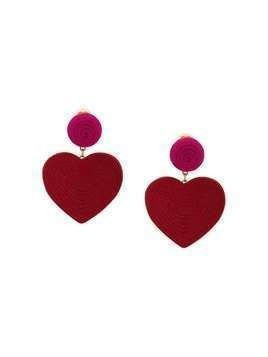 Rebecca De Ravenel Cora heart costume clip-on earrings - Red