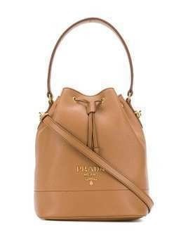 Prada logo plaque bucket bag - NEUTRALS