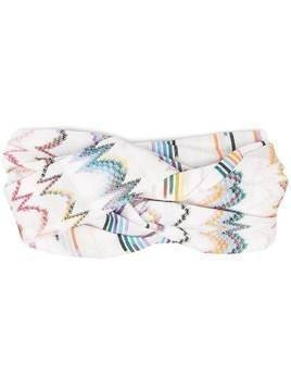 Missoni Mare chevron-print ruched headband - White
