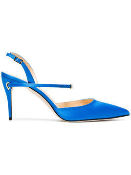 Jennifer Chamandi blue Vittorio 85 satin sandals