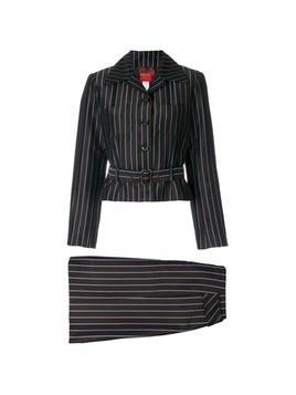 Kenzo Vintage striped belted skirt suit - Brown