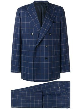 Kiton check two-piece formal suit - Blue