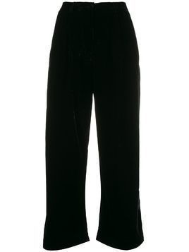 Mes Demoiselles Mansfield cropped velvet trousers - Black