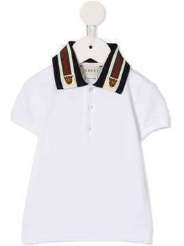 Gucci Kids tiger embroidered collar polo shirt - White