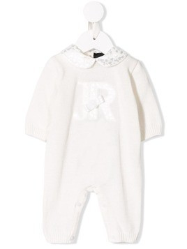 John Richmond Junior bow embellished knitted romper - White