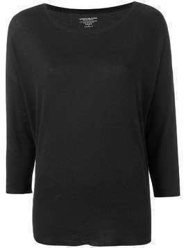 Majestic Filatures three-quarter sleeves knitted blouse - Black