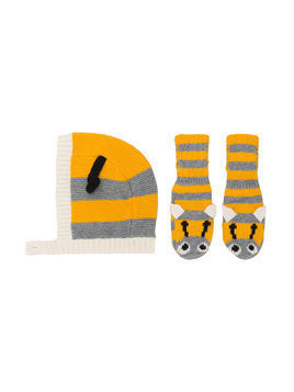 Stella Mccartney Kids bee hat and gloves - Yellow & Orange