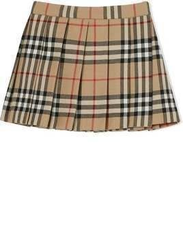 Burberry Kids Vintage Check pleated skirt - Brown