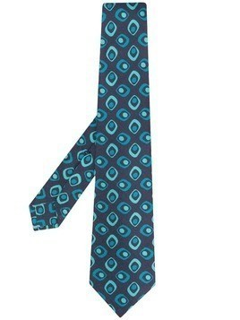 Kiton optic print tie - Blue