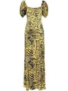 De La Vali Alma tiger print silk dress - Gold