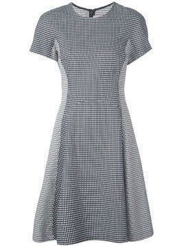 Lela Rose micro check flared dress - Black