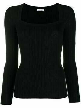 P.A.R.O.S.H. square-neck fitted knit top - Black