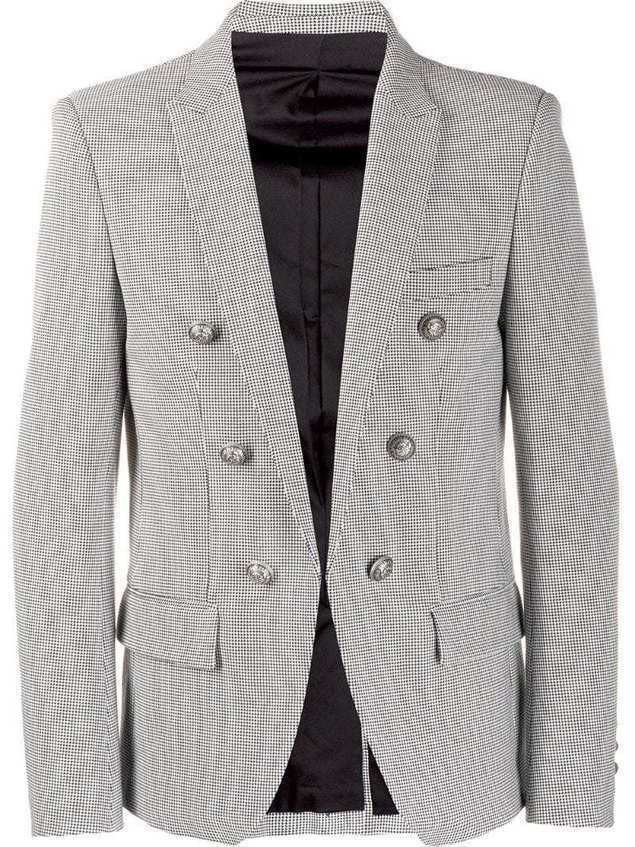 Balmain double-breasted houndstooth blazer - Black