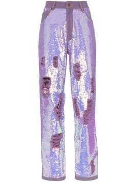 Ashish X Browns distressed sequin jeans - Purple