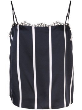 Fleur Du Mal striped square neck lace cami - Blue
