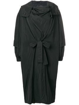 Irina Schrotter wrapped hooded coat - Black