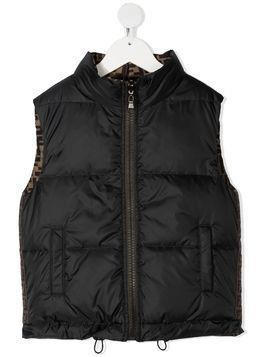 Fendi Kids FF-print reversible gilet - Brown