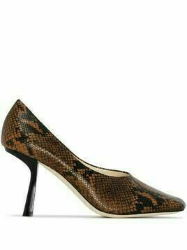 Jimmy Choo Marcella 85mm snake effect pumps - Brown