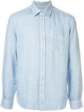 120% Lino long sleeved patch pocket shirt - Blue