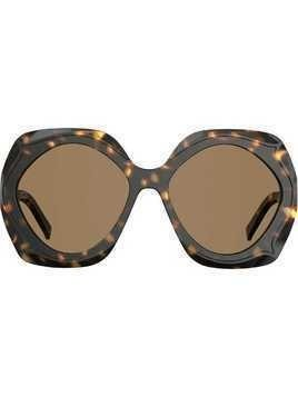 Elie Saab oversized tortoiseshell sunglasses - Brown