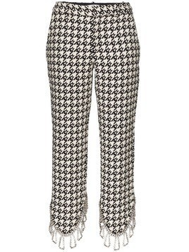 Area asymmetric embellished houndstooth trousers - Black