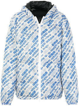 Adidas Originals By Alexander Wang - reversible logo print padded jacket - unisex - Nylon/Feather Down/Polyester - M - Blue