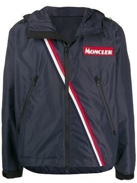 Moncler stripe detail sports jacket - Blue